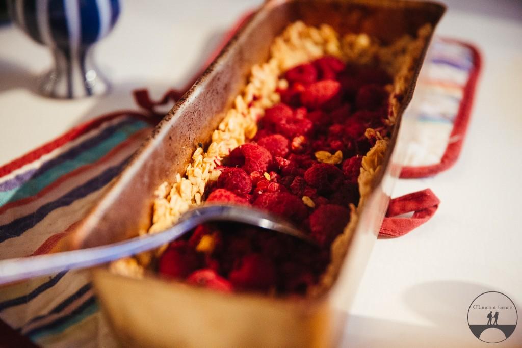 Torta de framboesa com massa de aveia